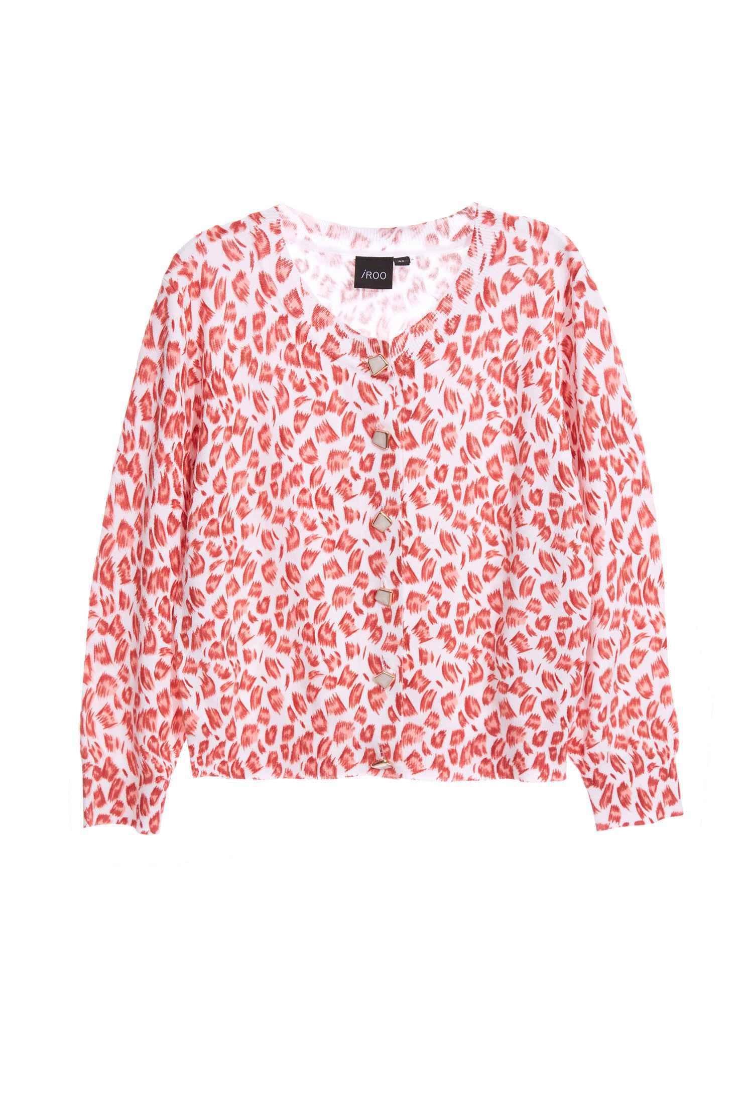 Leopard print pink knit cardigan