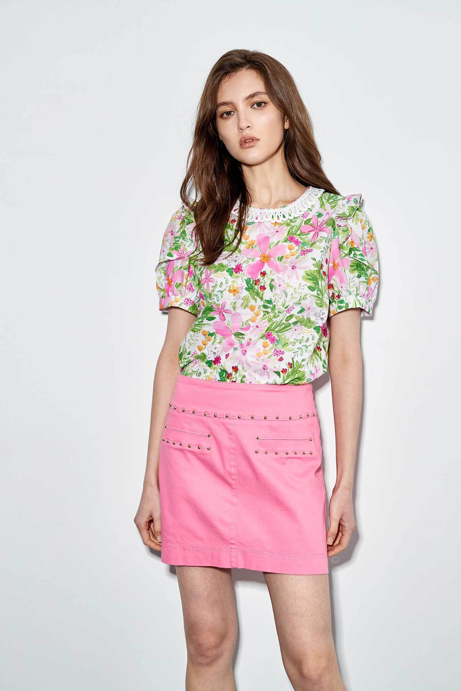 Faux denim mini skirt with metal rivets