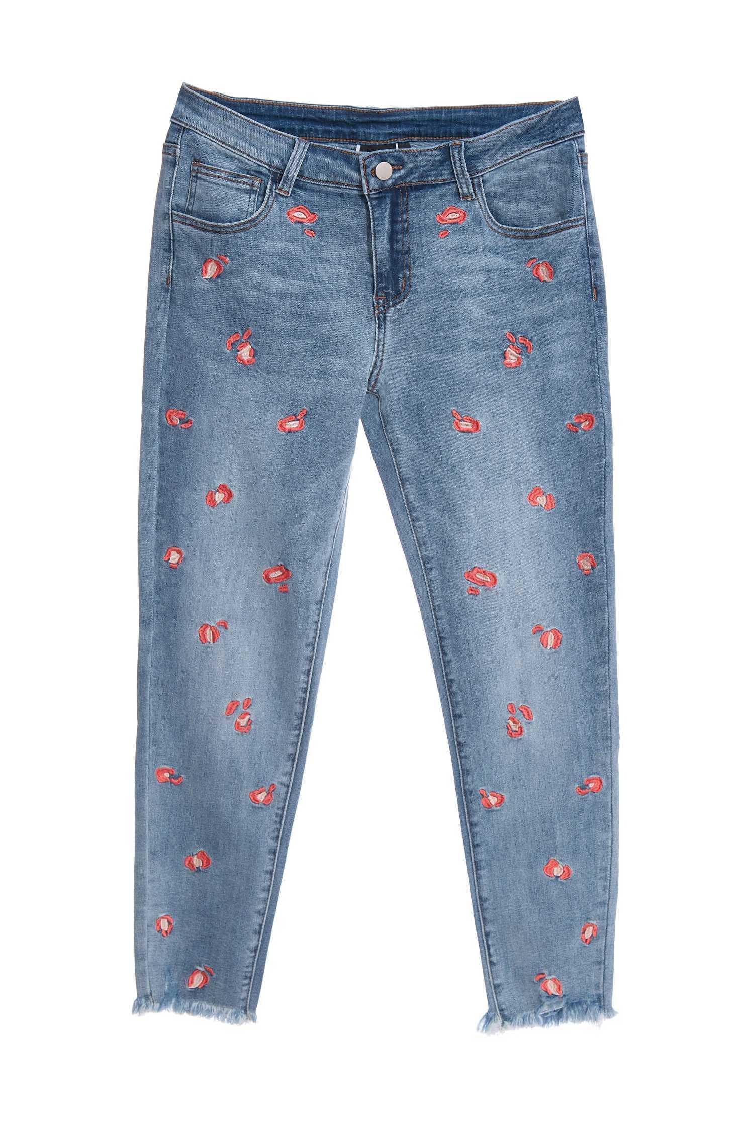 Irregular leopard print jeans