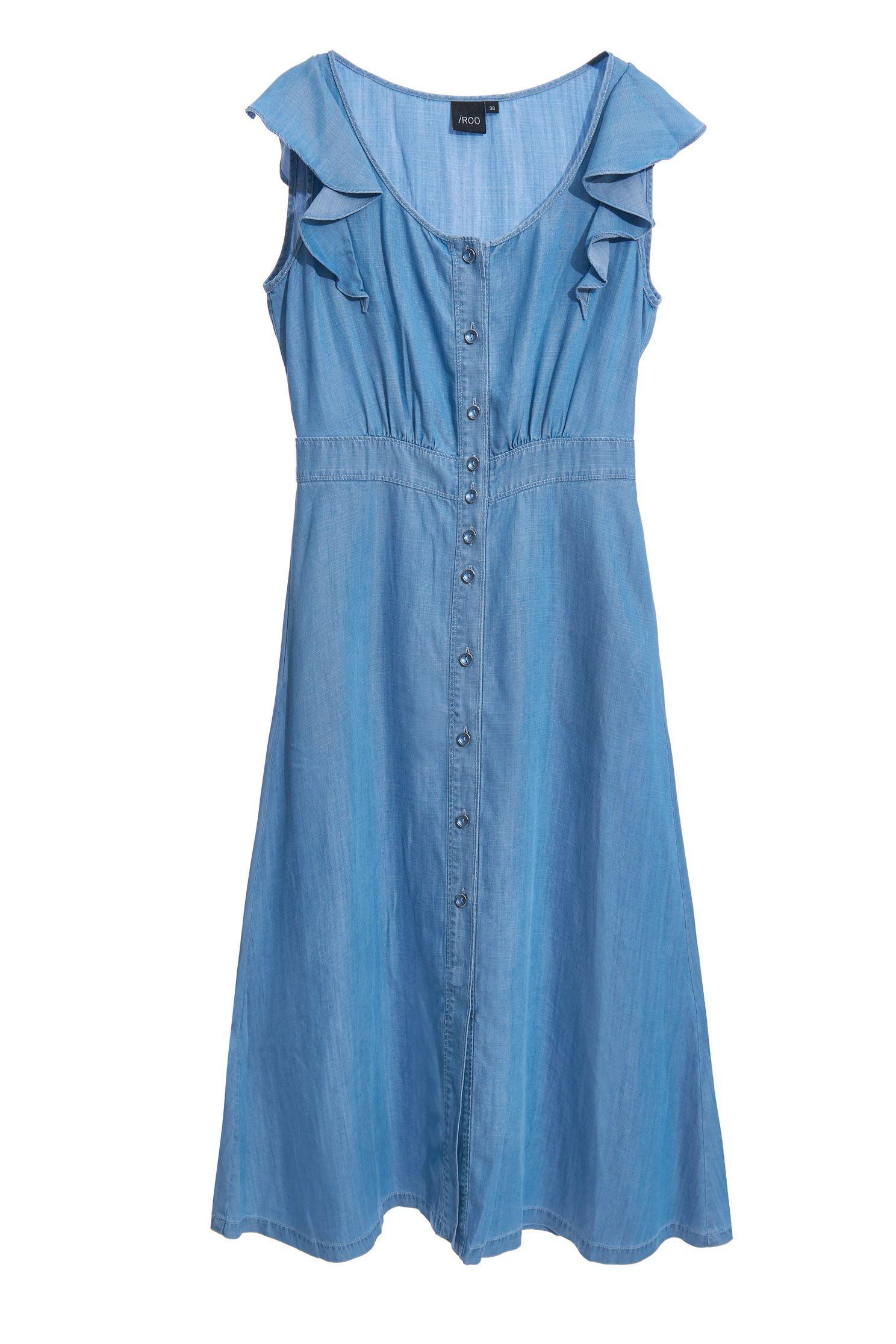 Tencel cotton faux denim midi dress