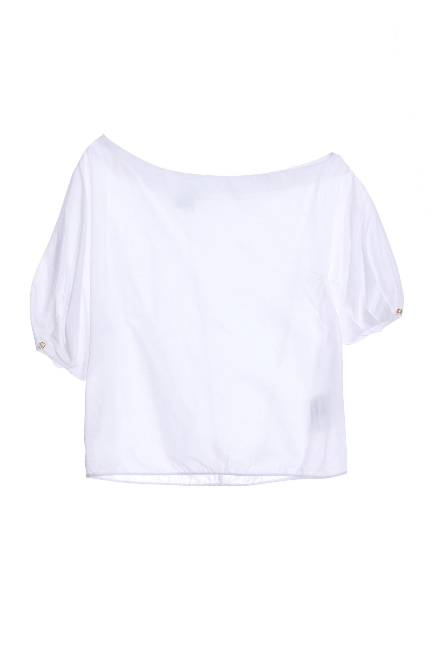 Asymmetric shoulder-shaped cotton top