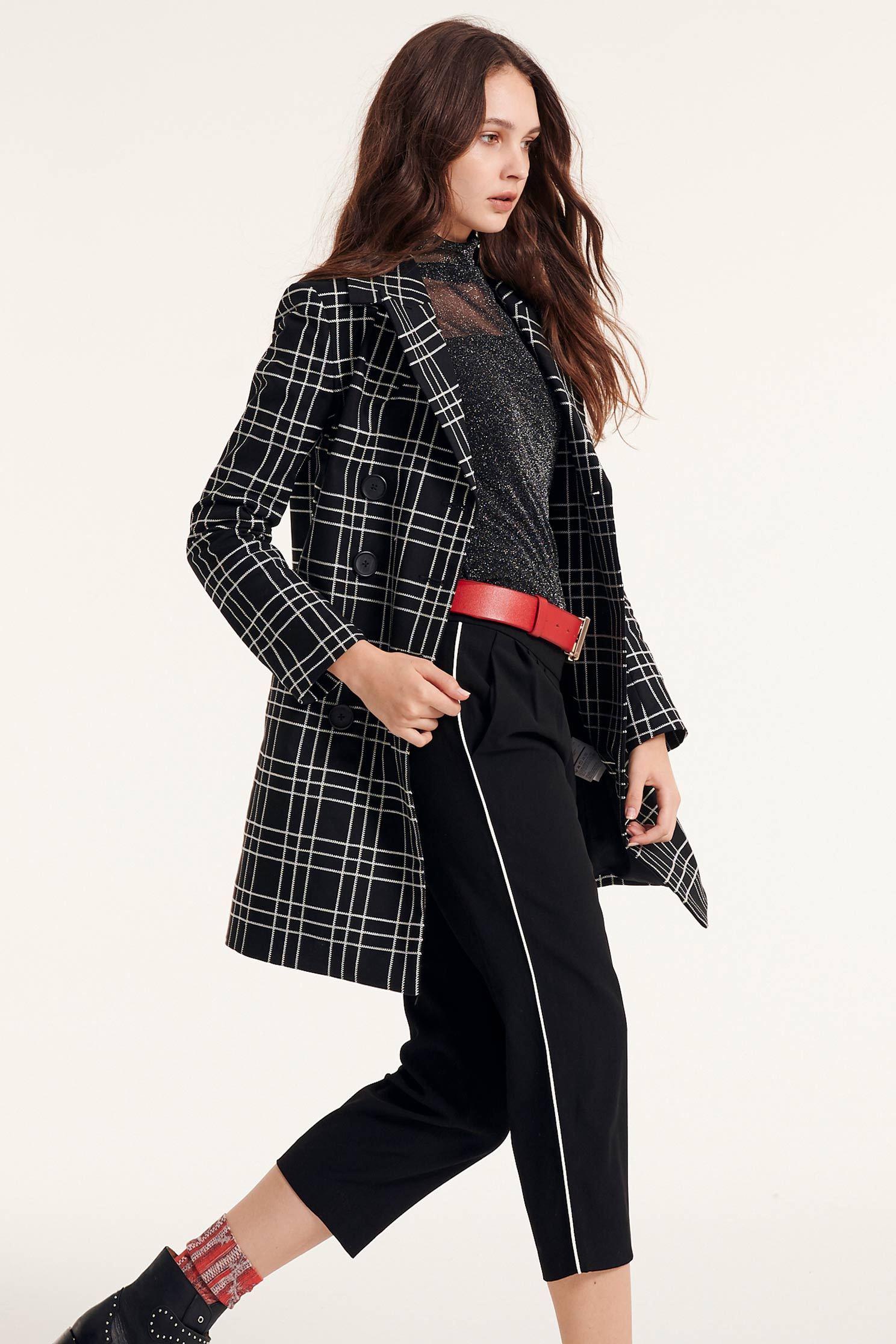 Plaid lapel coat,Embroidered,Outerwear,Season (AW) Look,Embroidered,Overcoats,Overcoats,Long sleeve outerwear,Black outerwear