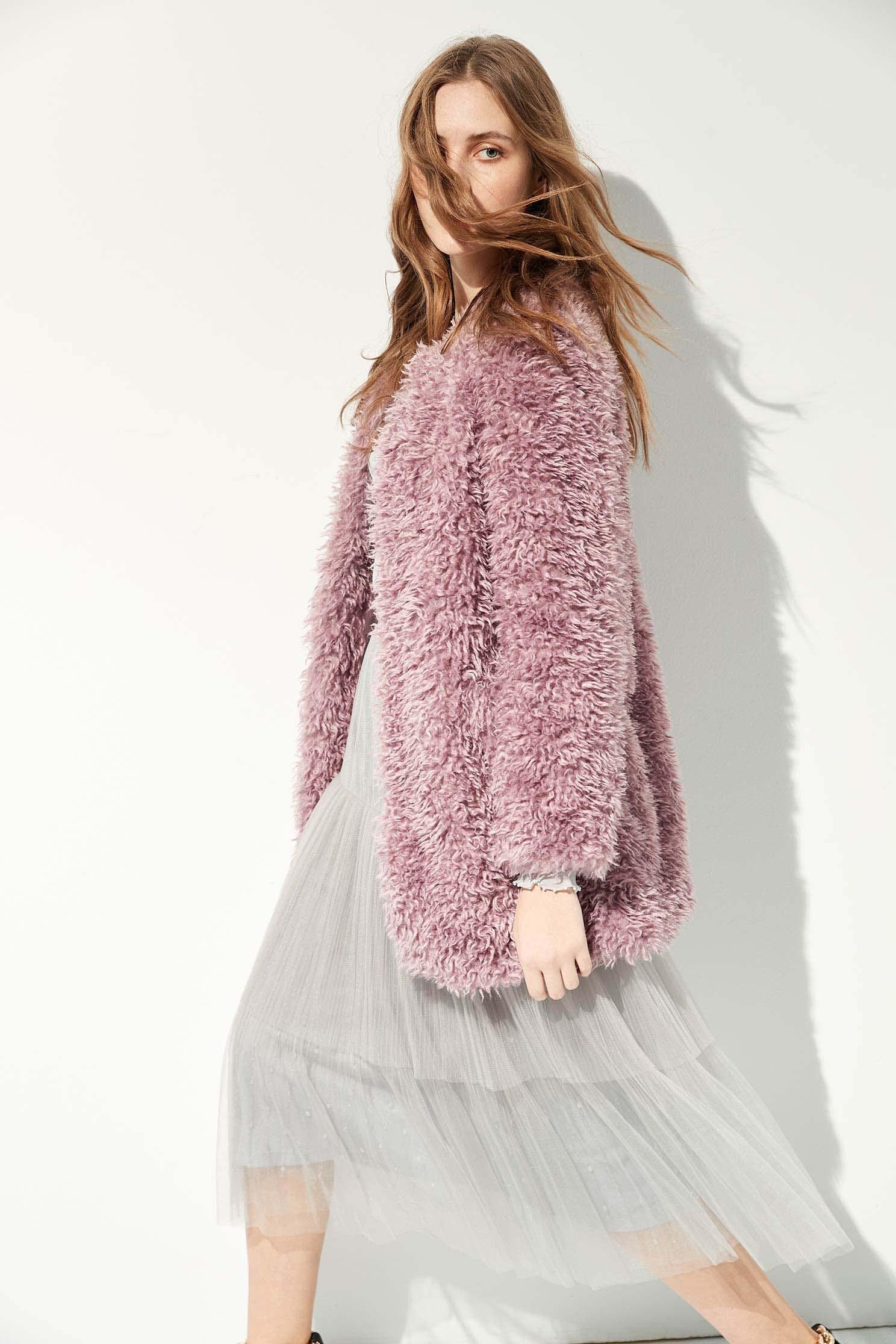 Fleece Textured coat,Jackets,Ready for Winter,Outerwear,Season (AW) Look,Long sleeve outerwear