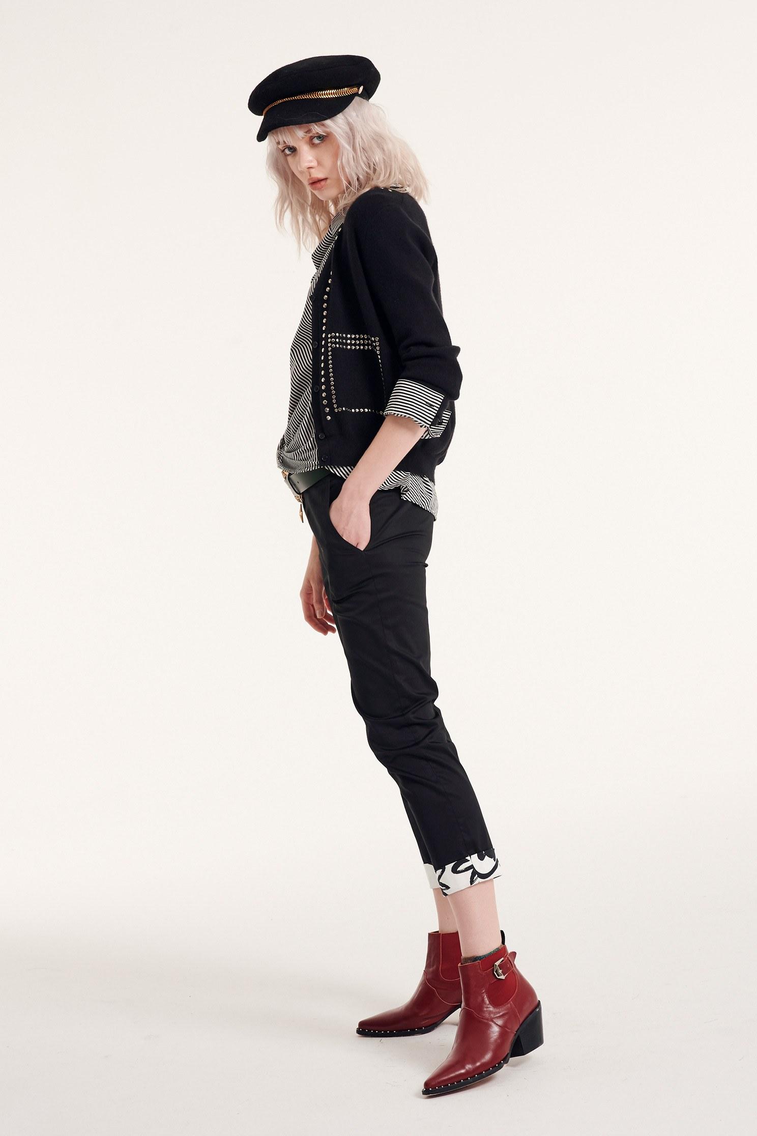 Back-fold printed trousers,Season (AW) Look,pants,Turn-up pants,Pants,Slim pants,Black pants,Black pants