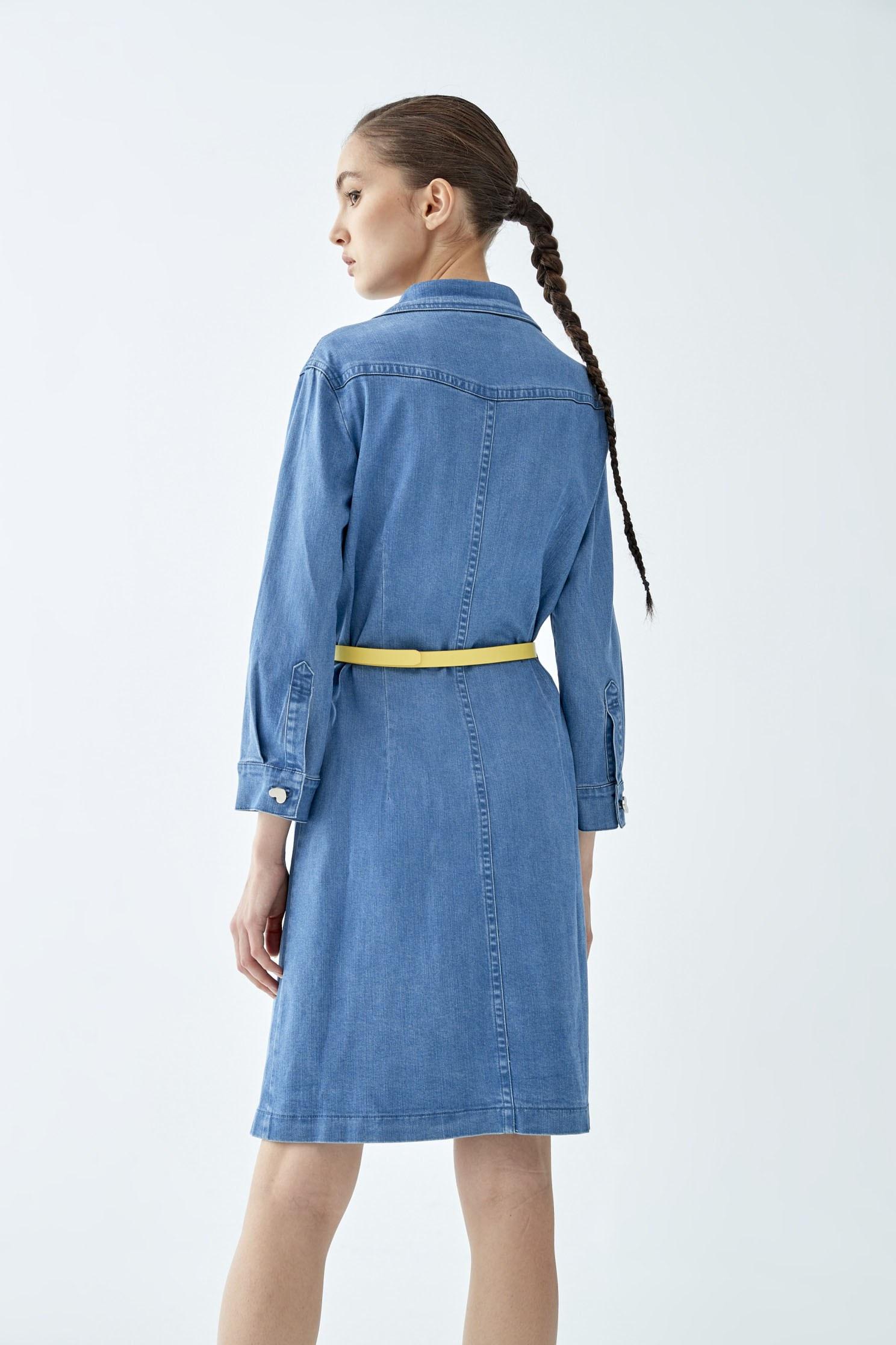 Denim shirt-style dress with love buttons,Rayon,Season (SS) Look,Denim,Blouses