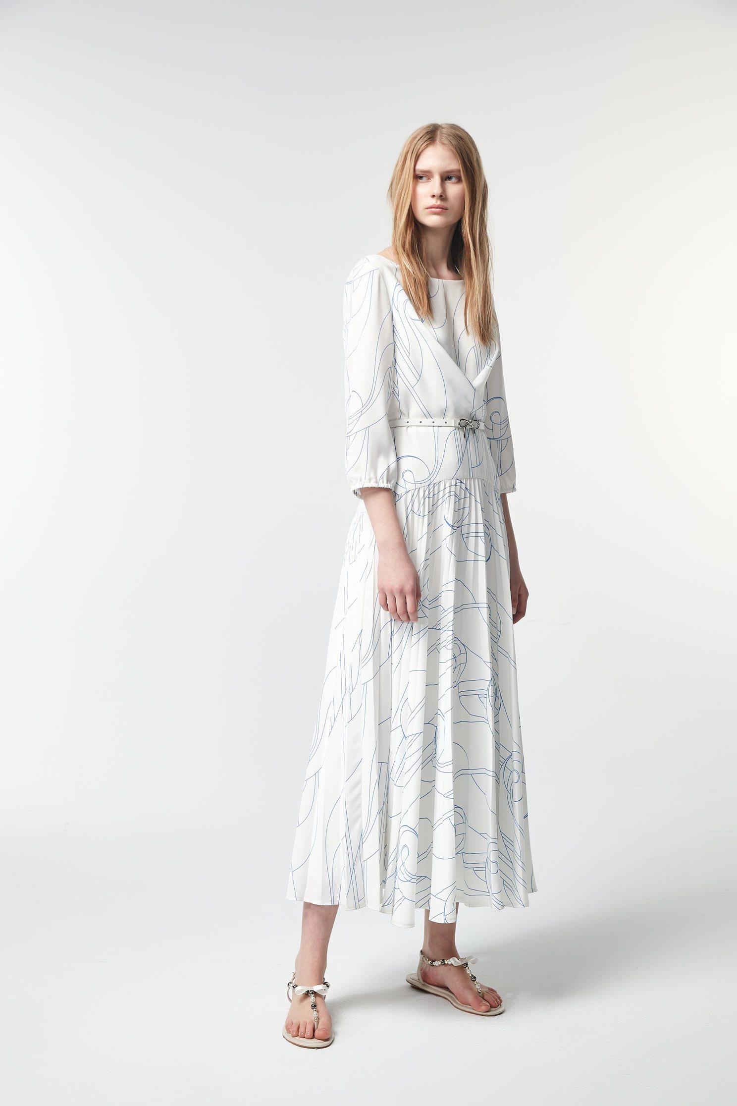 Hand-painted line print dress,U-neck dresses,Dresses,Printed dresses,Chiffon dresses,Season (SS) Look,Floral dresses,Season (AW) Look,Valentine,dresses,Maxi dresses,Long sleeve dresses,Chiffon,Chiffon dresses