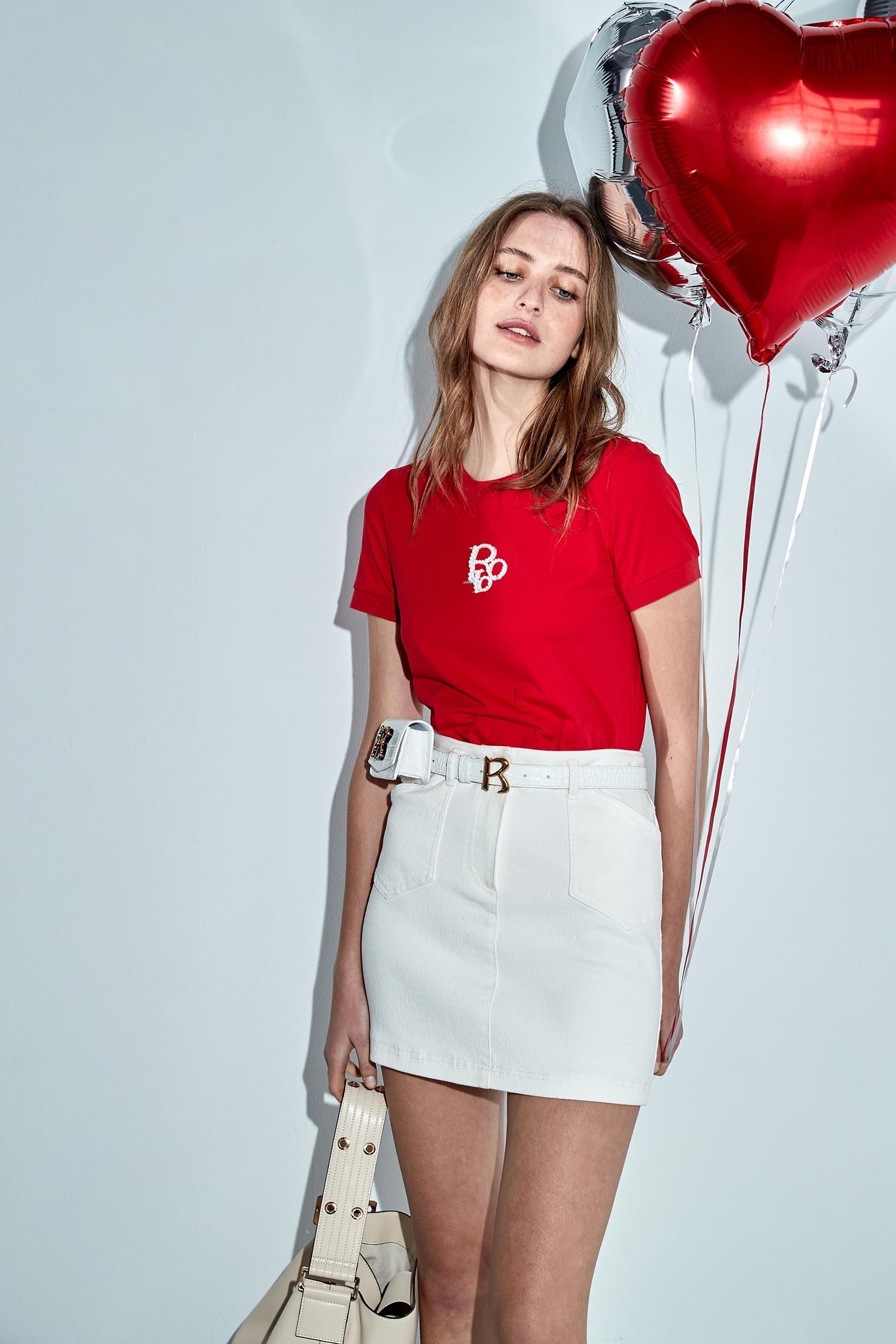 Faux pearl LOGO cotton T-shirt,T-shirts,T-shirts,Season (SS) Look