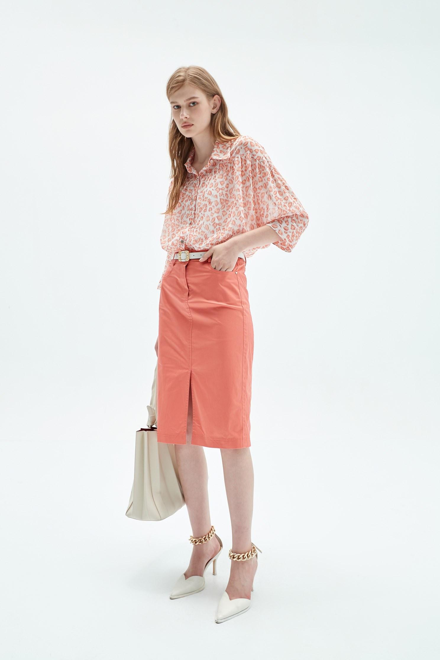 Chiffon pink top with  leopard print,Tops,Season (SS) Look,Blouses,Chiffon