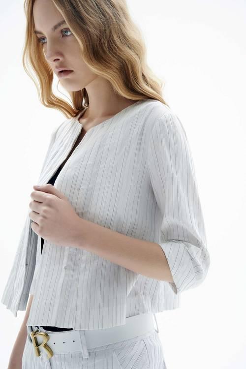 Elegant striped round neck coat top