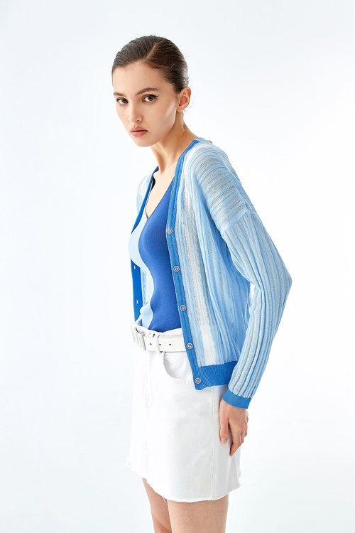 Contrast knit cardigan