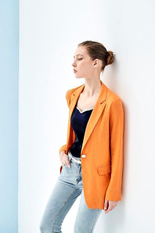 Orange cotton and linen classic blazer