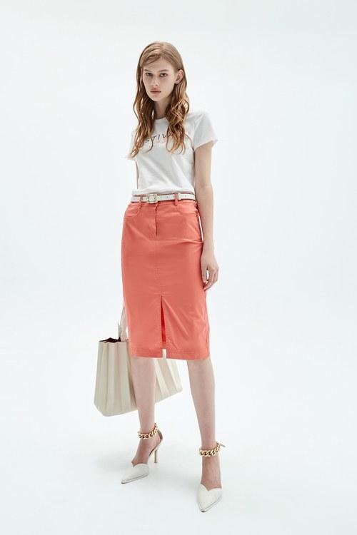 Tangerine faux denim pencil skirt
