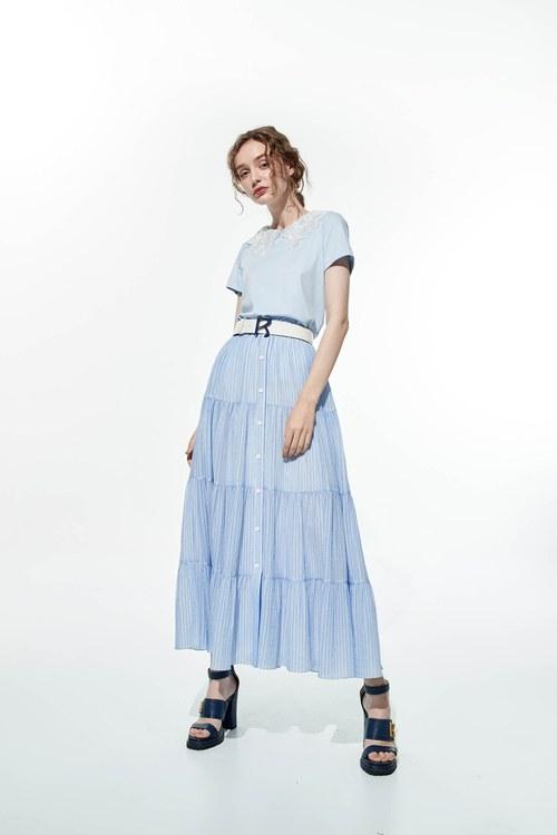 Pinstripe layered long skirt