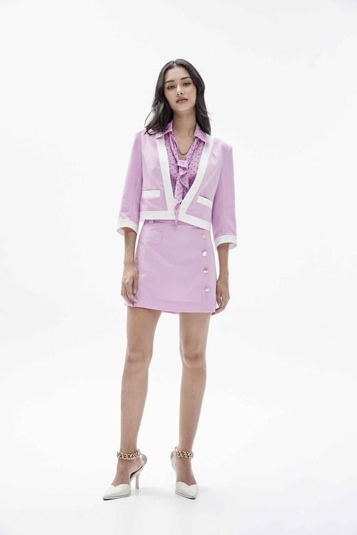 Pink skirt with welt pocket