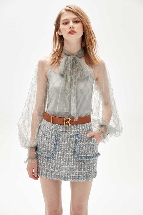 Metallic silver tweed check skirt