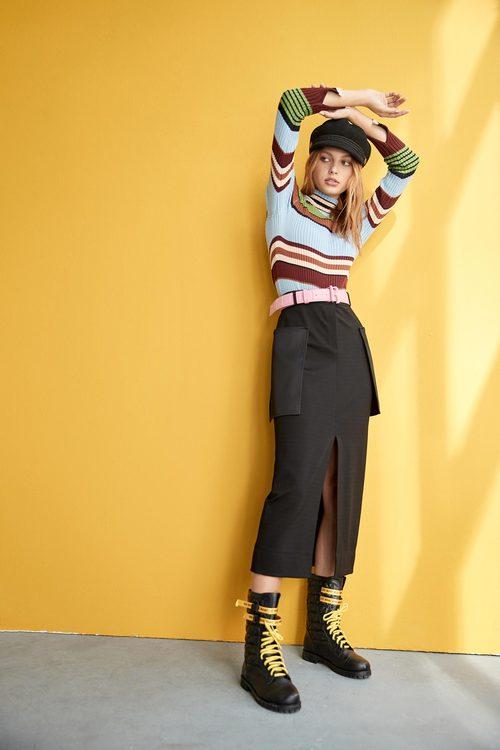 Large pockets decorative long pencil skirt