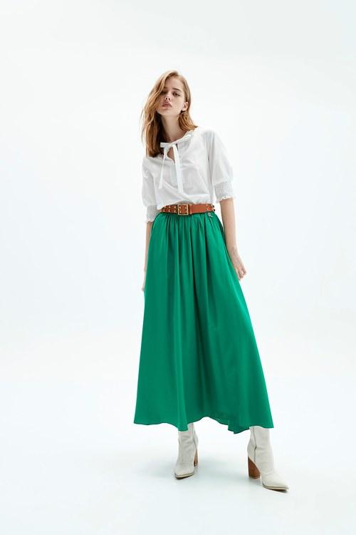 Bright green long skirt