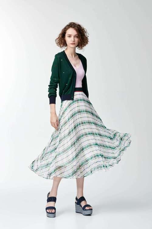 Plaid printed Pleated skirt