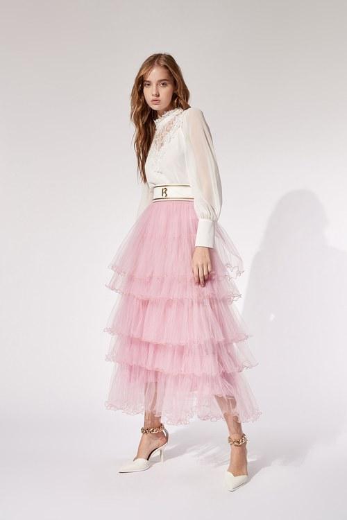 Ruffled mesh long skirt