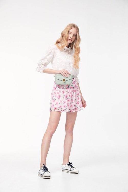 Flower chiffon trouser skirt