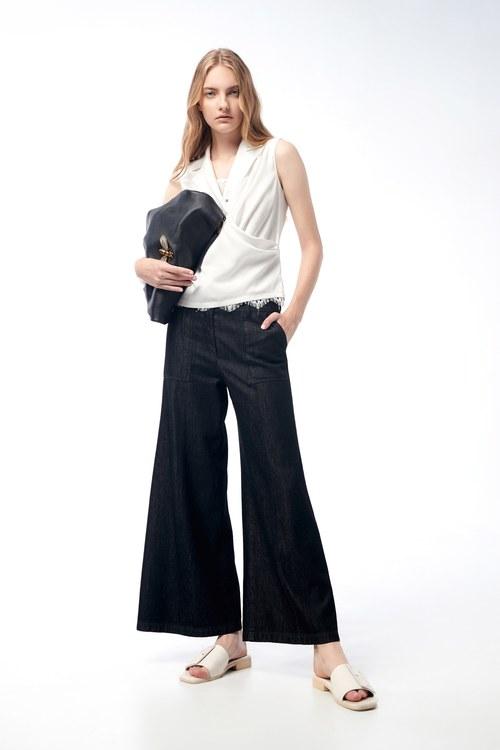 Black tencel tube trousers