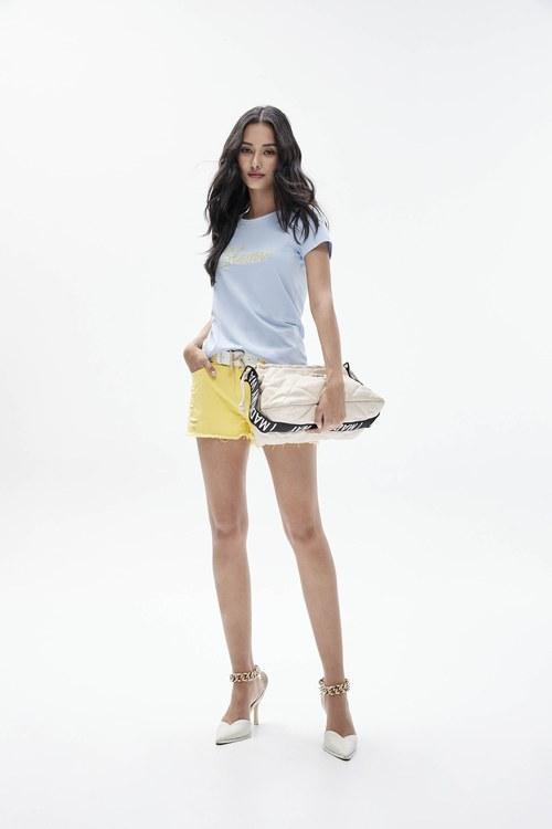 Yellow worn shorts.