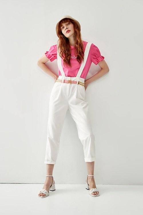 Jumpsuit with pink belt