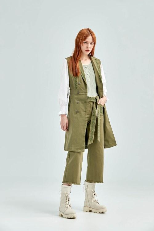 Bohemian embroiderey wide-leg trousers