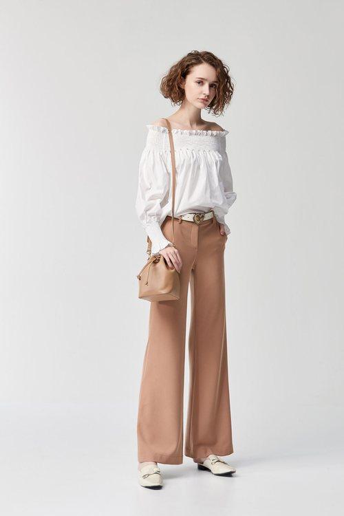 Micro-horn plain trousers