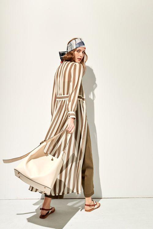 Chiffon shirt long dress with striped