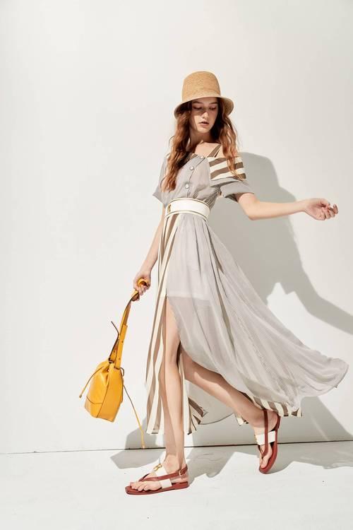 Contrast striped long dress