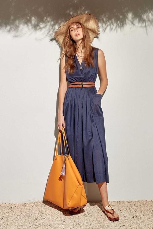 Tight waist long dress with pocket