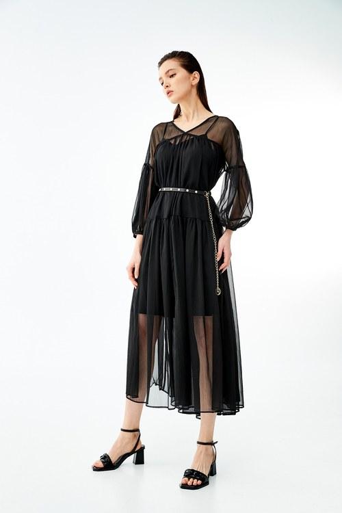 Long chiffon dress with leather strap