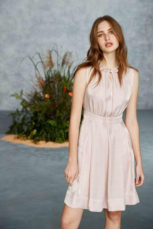 Faux silk vintage suit-style dress