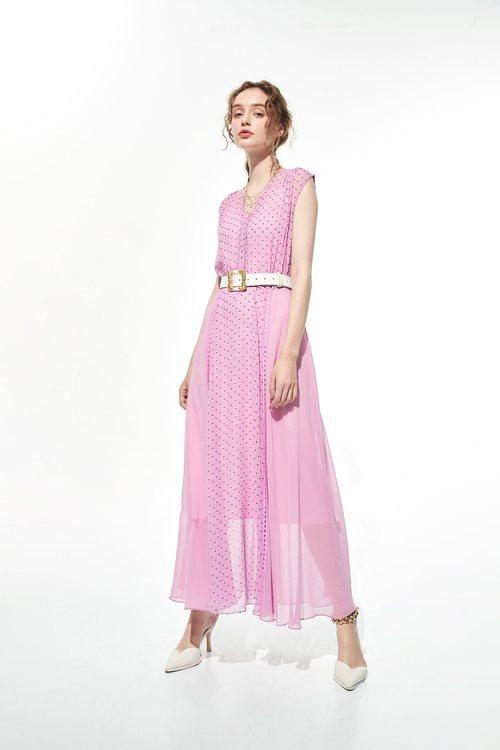 Powder purple long dress with little daisy print