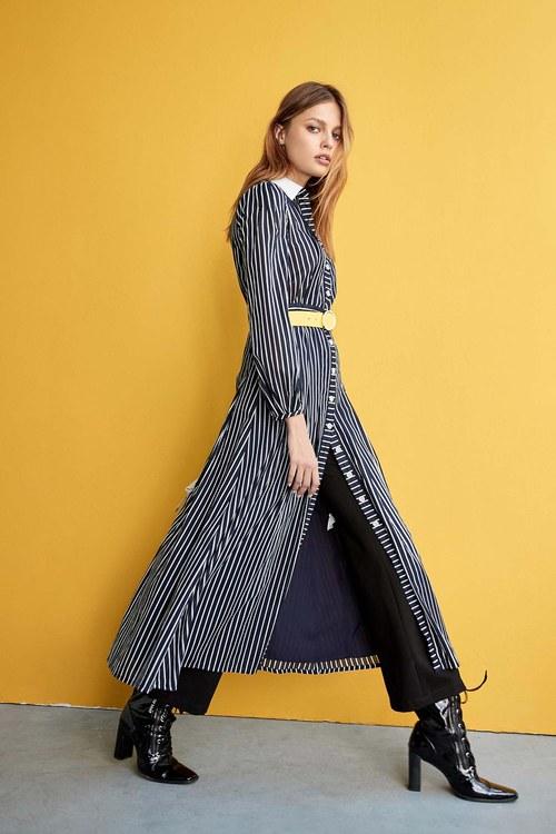 Colored shirt-style long dress