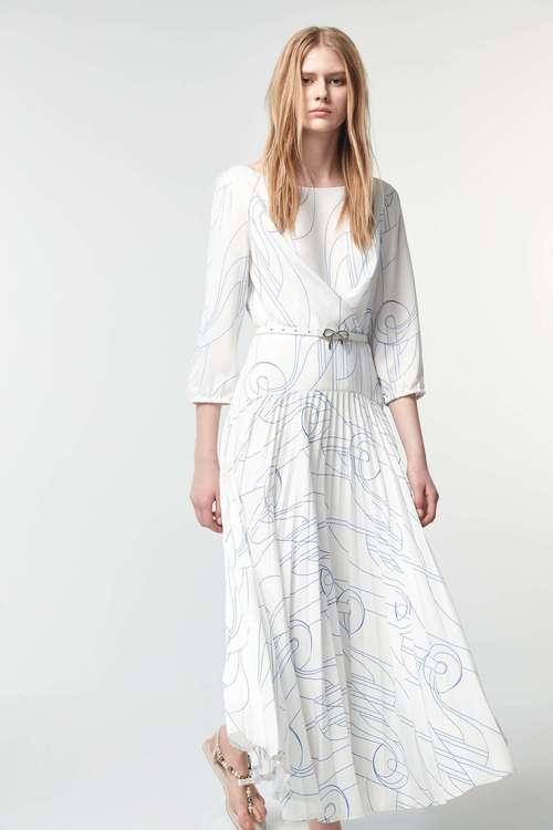 Hand-painted line print dress