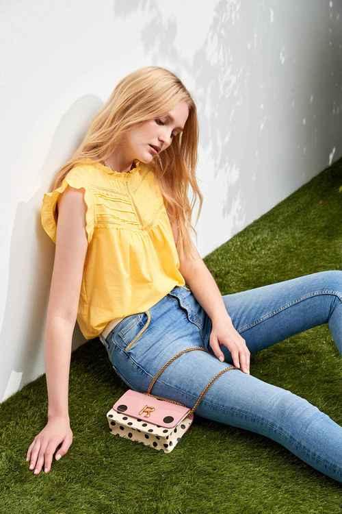 Yellow cotton vest-style top