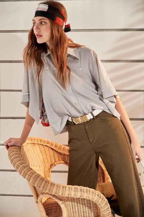 Lace-striped shirt