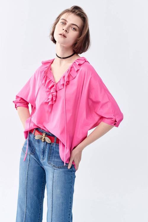 Ruffle collar five-sleeve length top
