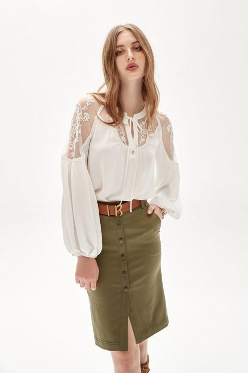 Bohemian embroiderey chiffon top