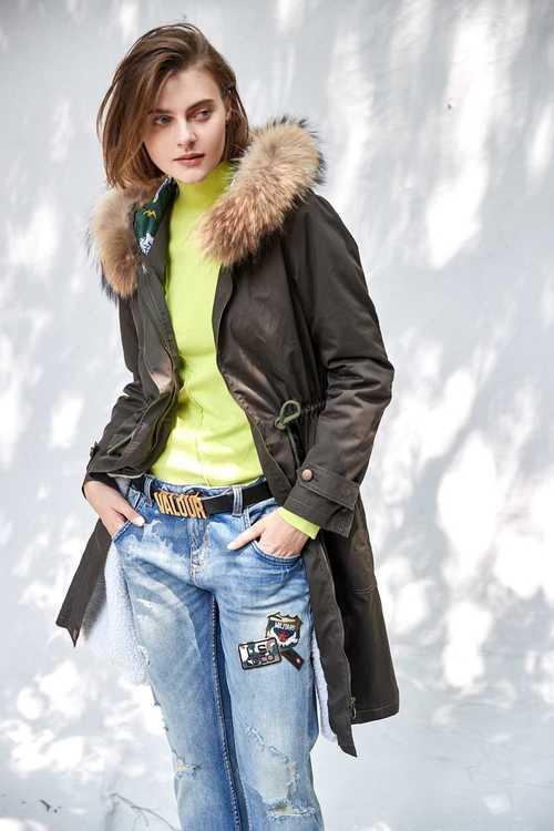 Women Warm Long Coat Fur Collar Hooded Jacket