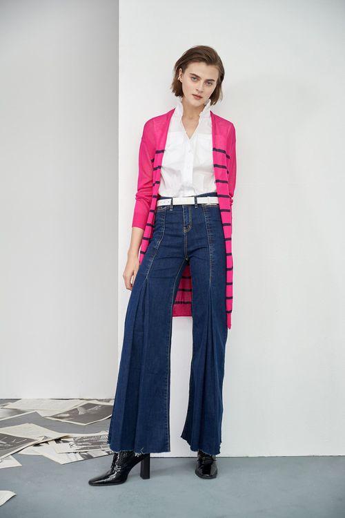 Striped knit cardigan