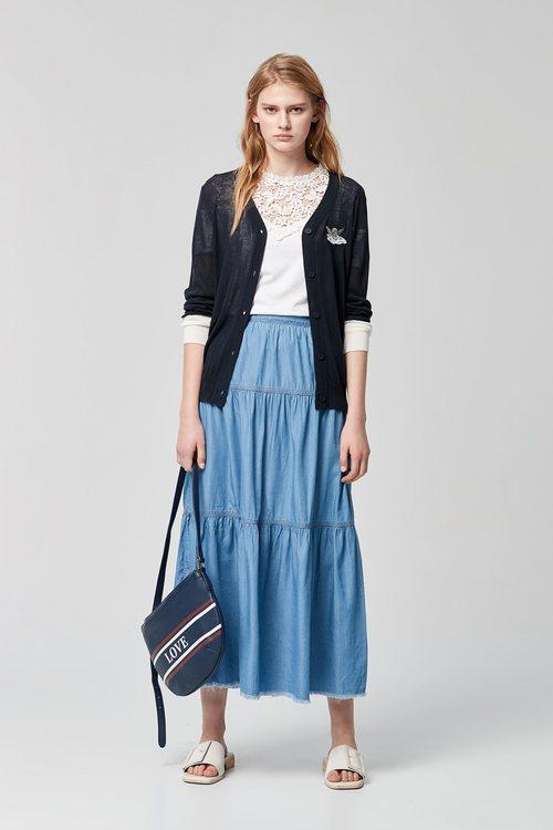 Silk denim stitching skirt
