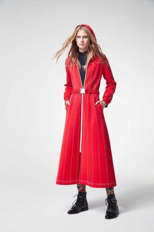 Hooded long-sleeved dress