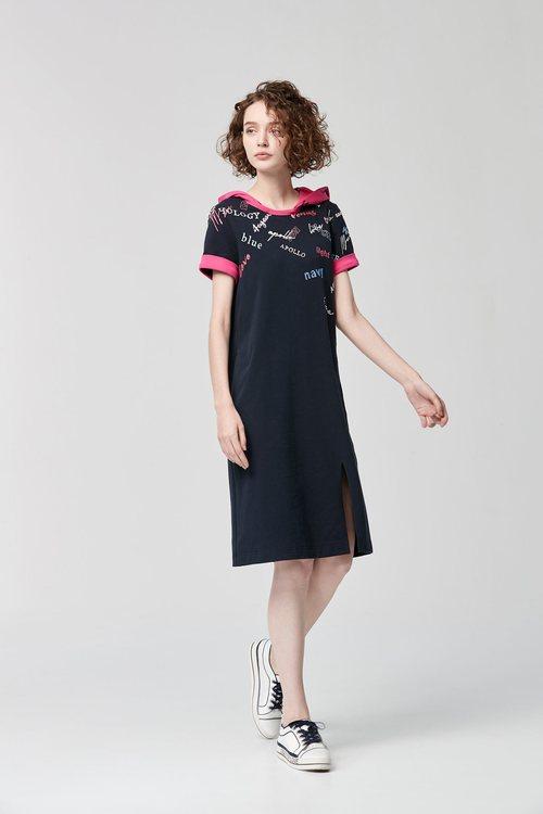 Hood embroidered  dress
