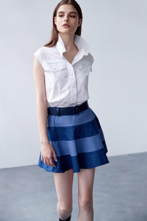 Collar pleated shirt vest