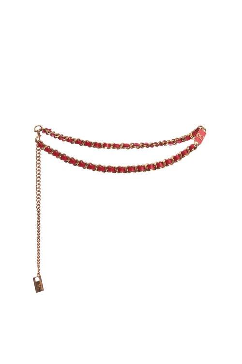 R-shaped leather belt