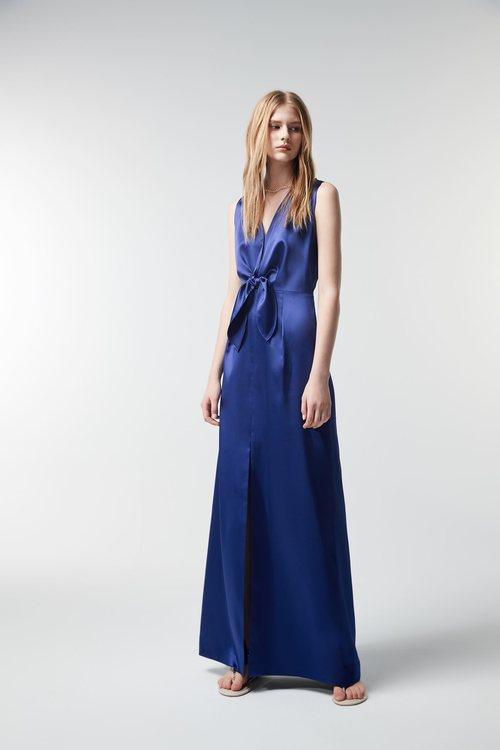 Tied gold striped blue long dress