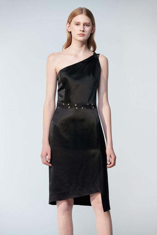 Black slanted satin dress